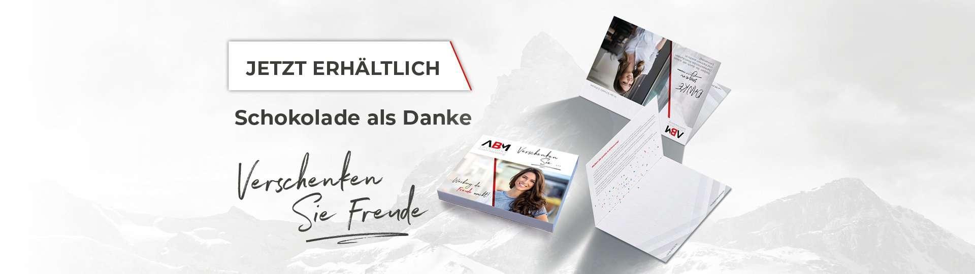 ABMhandelsagentur Schweizer Schokolade Danke Giveaway ABM Solutions GmbH Werbemittel Messe