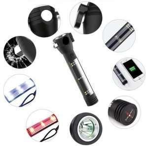 Multifunktionstaschenlampe Schwarz 9in1 Funktionen function safety kompass sirene alarm licht notfall