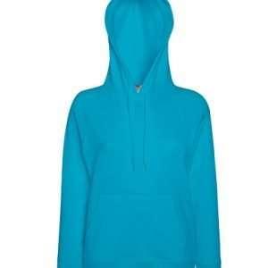 leichter Damenhoodie ABM Solutions GmbH Fleece OEKO-TEX WRAP Trockner geeignet Pullover Design Style Azur Blue Azurblau