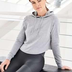 Crossback Damenhoodie Sport Damen Pullover Hoodie sportlich Grau Schwarz Weiss